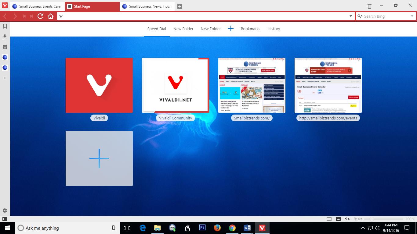Alternative Browser Vivaldi - Speed Dial