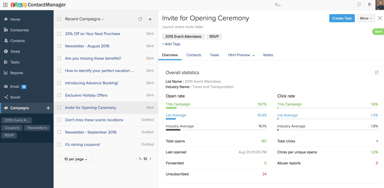 Zoho and MailChimp Integration - Track Campaign Statistics