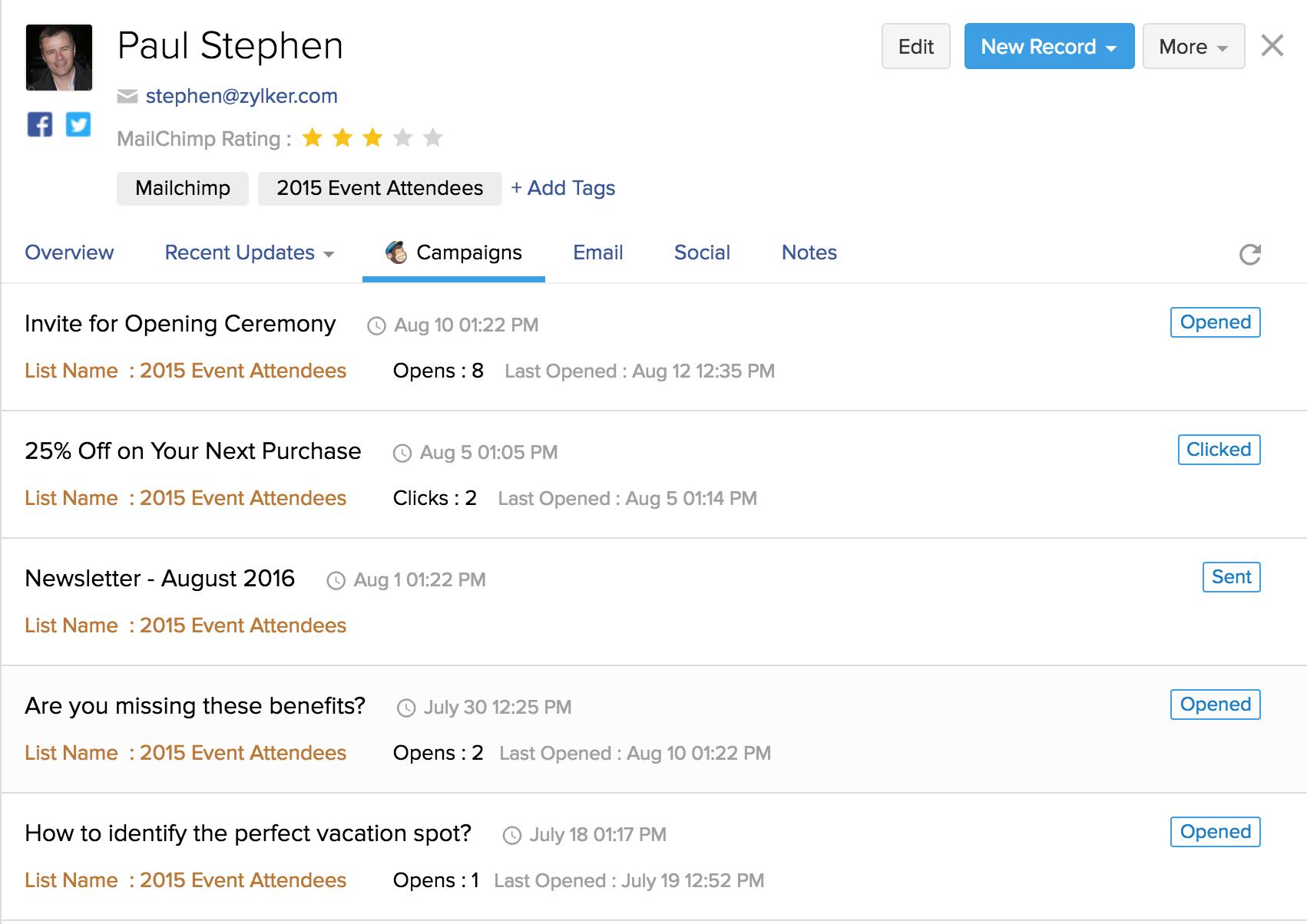 Zoho and MailChimp Integration - Contact Details