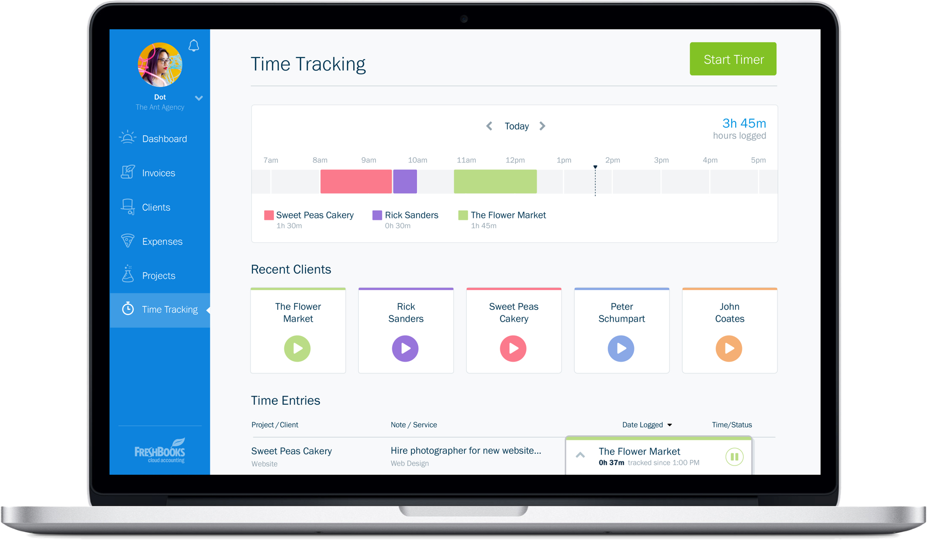 Freshbooks Redesign - Time Tracking