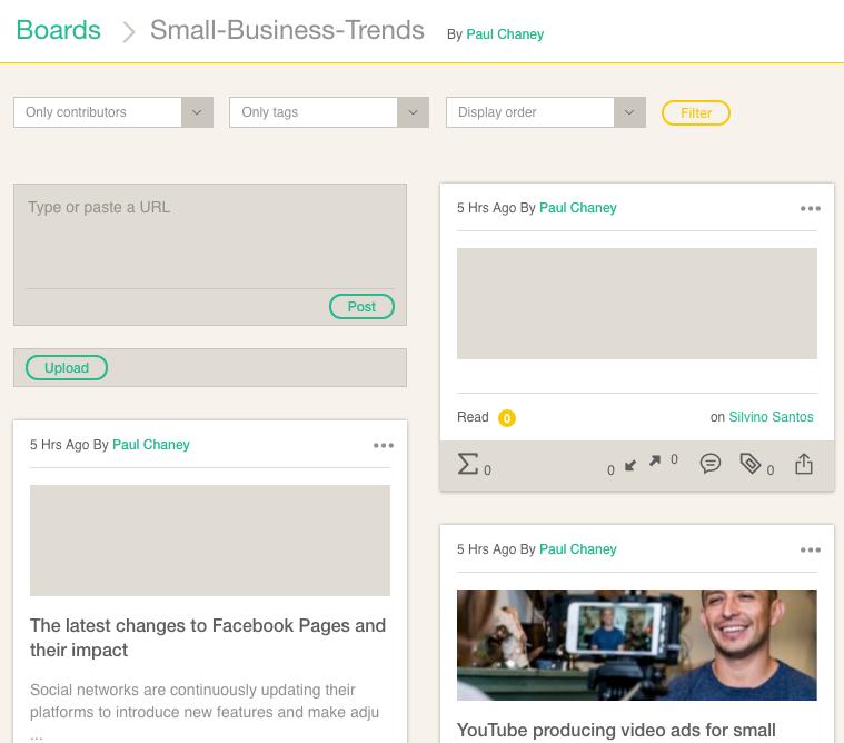 Collaborative Content Curation Platform Cronycle: Boards