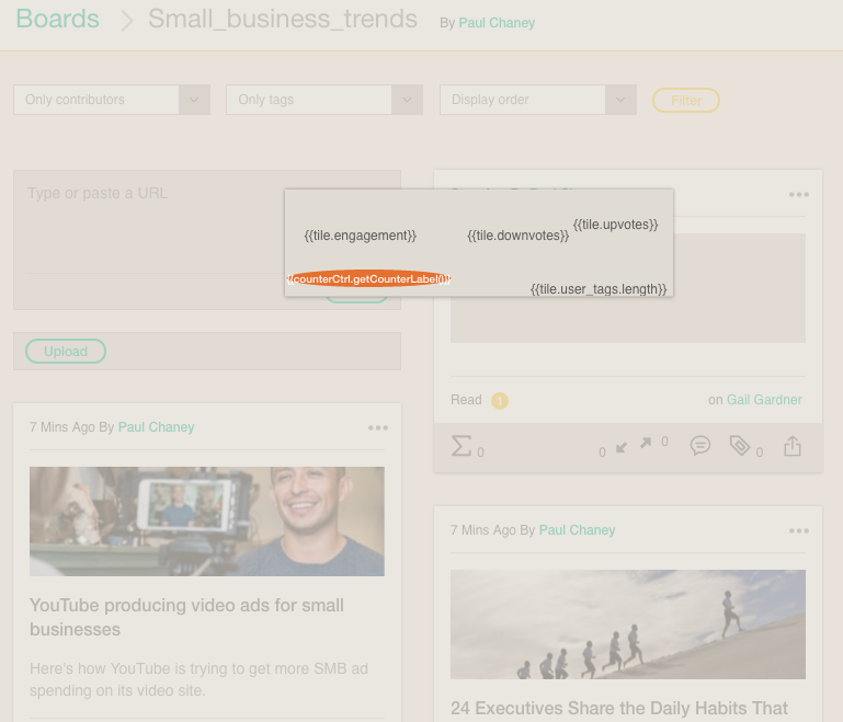 Collaborative Content Curation Platform Cronycle: User Interface Glitch