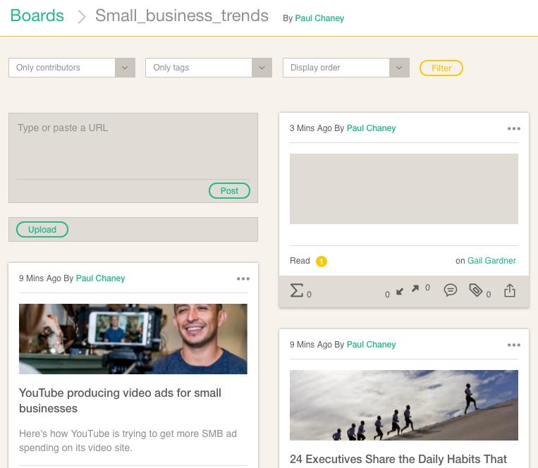Collaborative Content Curation Platform Cronycle: Boards Showing No Information