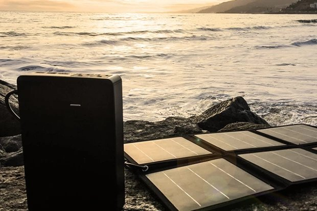 The Portable External Battery Charger PLUG Can Be Charged via Optional Solar Panels