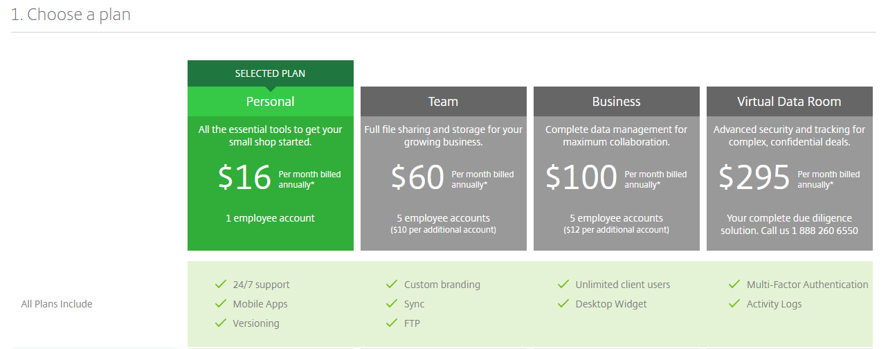 Citrix ShareFile - Pricing