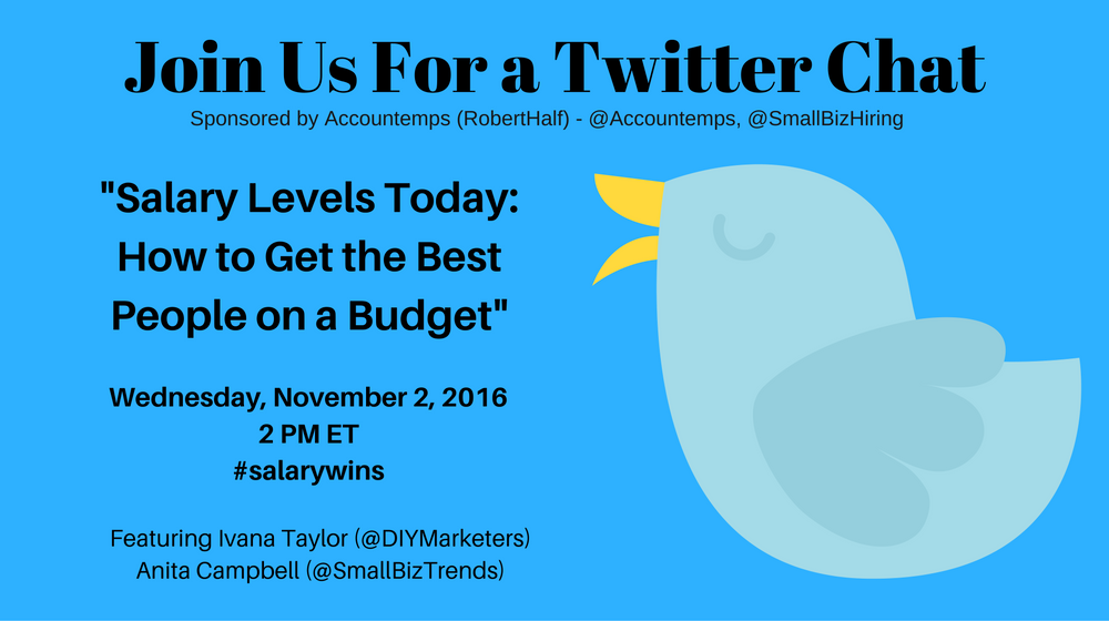 Join us on Nov. 2 for a #salarywins Twitter chat to discuss the challenges small businesses face when hiring employees on a limited budget.