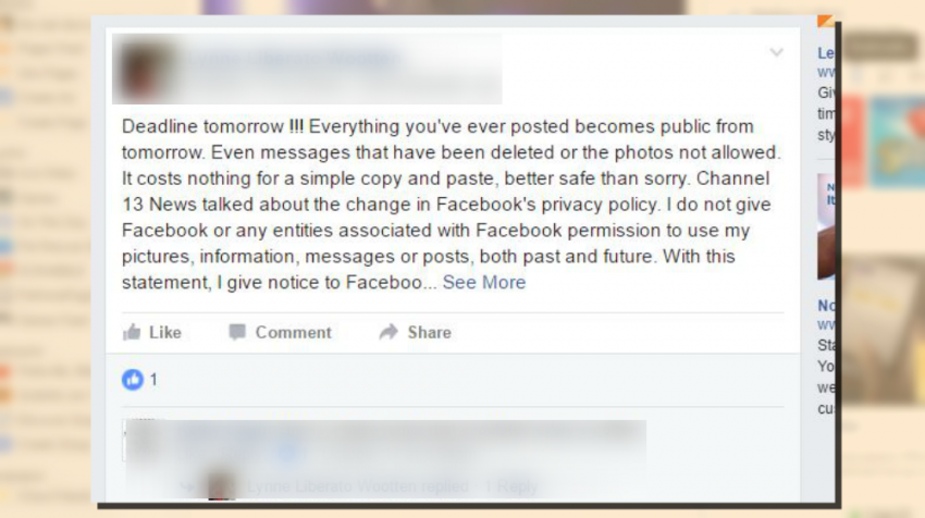 Don't Be Fooled, Facebook Privacy Hoax is Again Making the Rounds