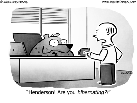 Bear Hibernating Business Cartoon