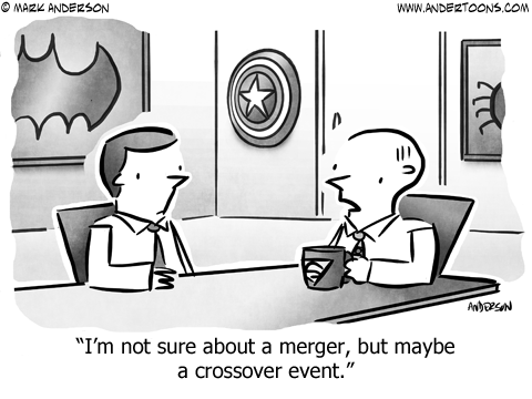Crossover Business Cartoon