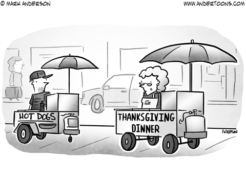 Thanksgiving Dinner Business Cartoon
