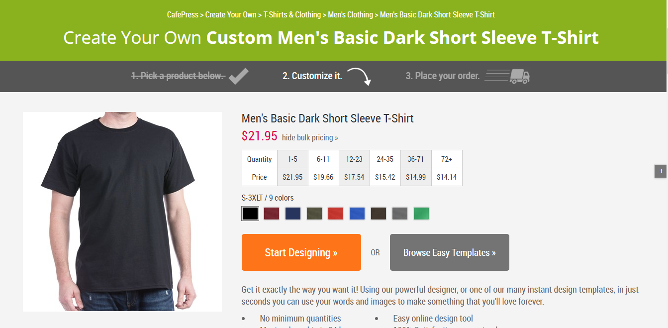 How to Create and Order CafePress T-Shirts for Your Small Business - Choose the Number of Items