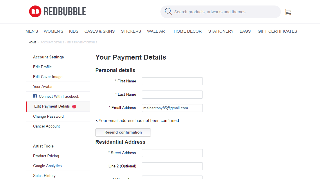 How to Create a Redbubble Store - Enter your Payment Details