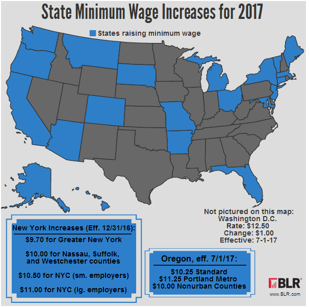 Minimum Wage Going Up - 2017 Map