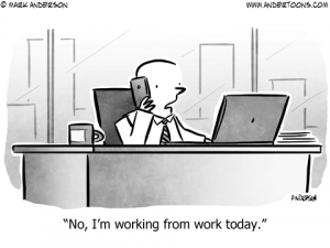Working from Home Business Cartoon