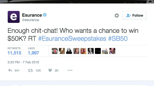 Best Viral Campaigns of 2016 - Esurance: Super Bowl #EsuranceSweepstakes