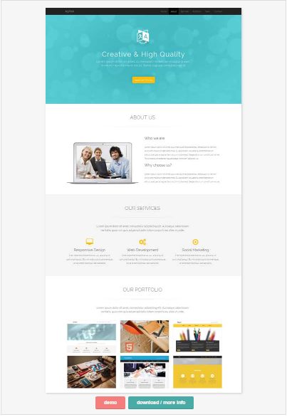 50 One Page Website Templates for Your Business - Alpha