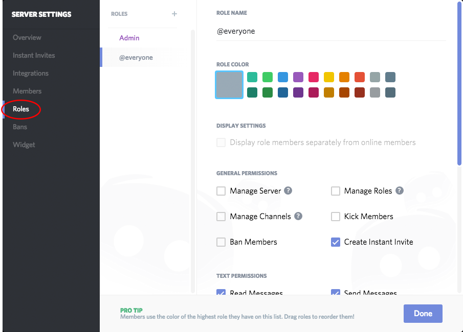 Free Collaboration Tool Discord - Setting Permissions