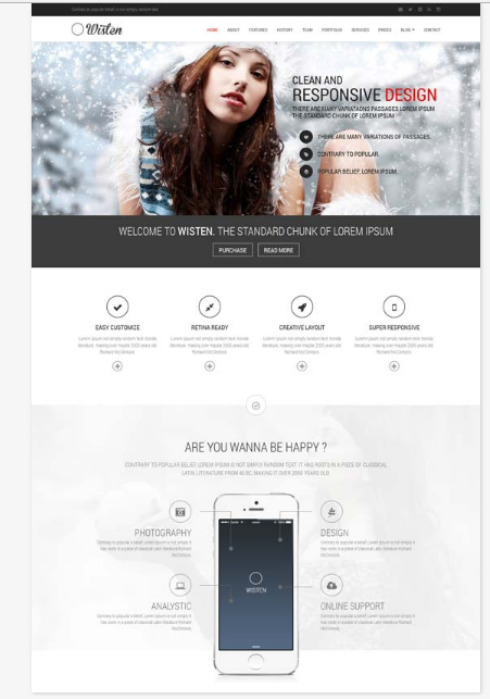 50 One Page Website Templates for Your Business - Wisten