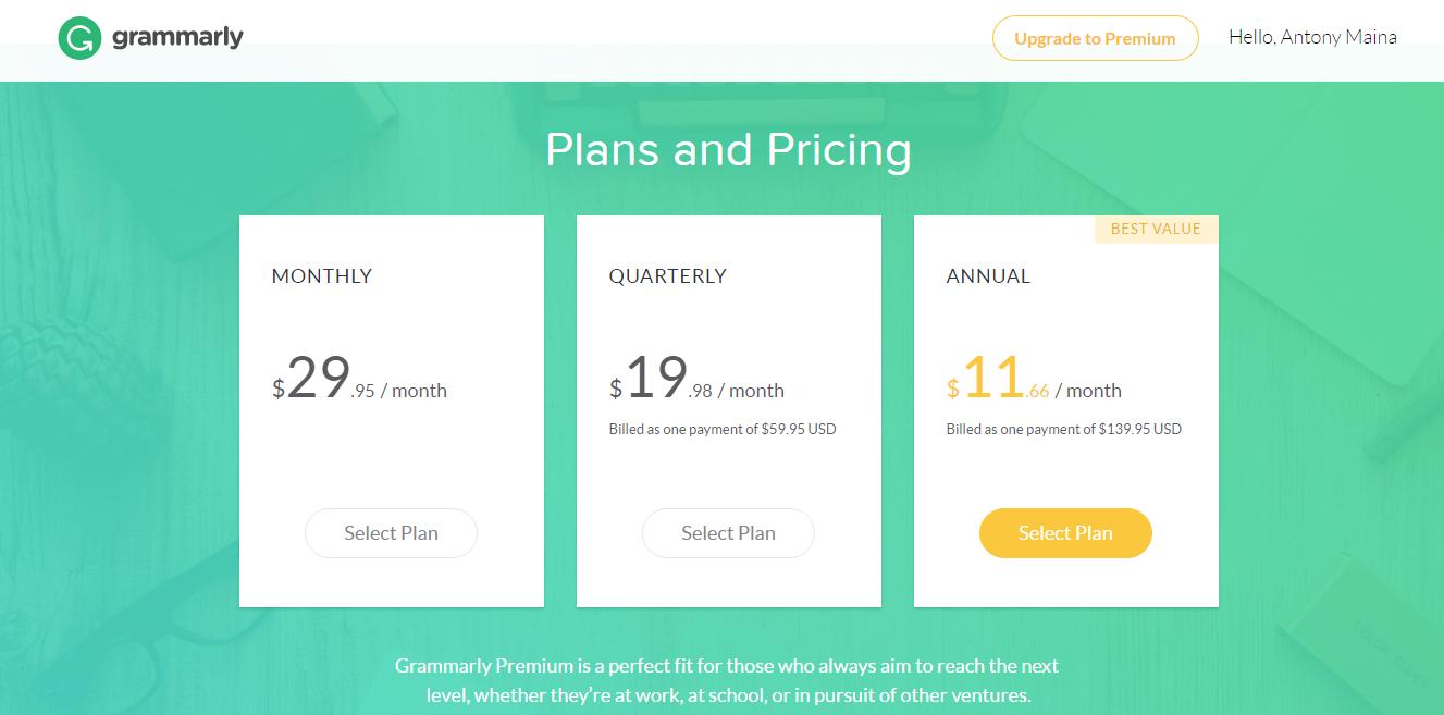 Free Grammar Checker Grammarly - Pricing