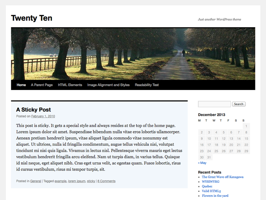 10 Most Popular WordPress Themes - Twenty Ten