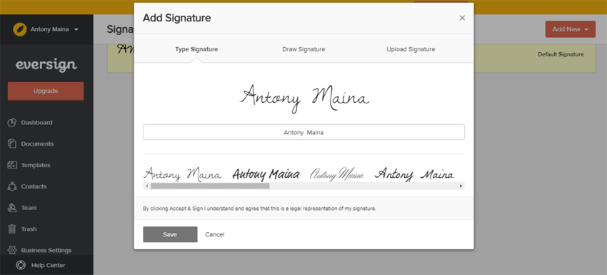 Eversign Paperless eSignature - Legally Binding Documents