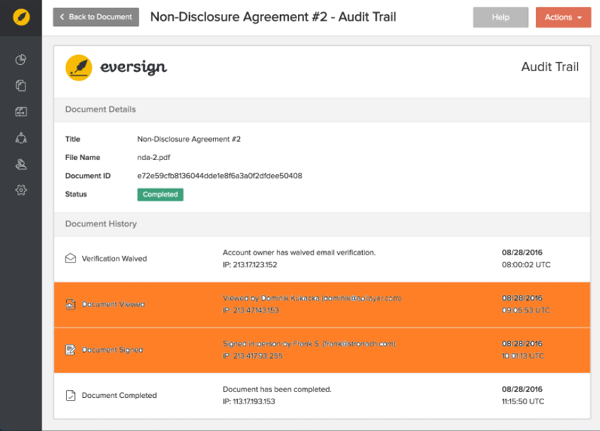 Eversign Paperless eSignature - Audit Trail