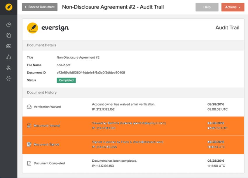 Eversign Paperless eSignature - Audit Trail