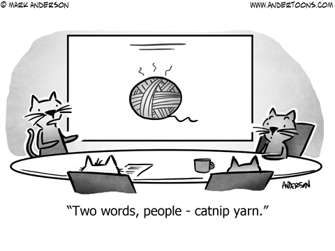 Cat Meeting Business Cartoon