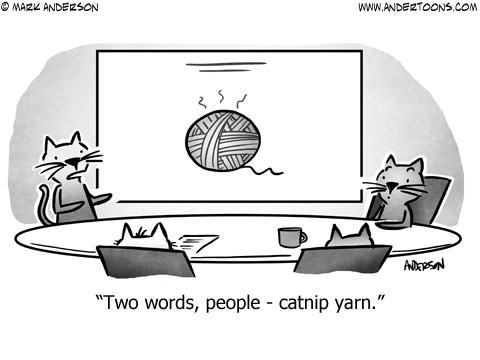Cat Meeting Business Cartoon