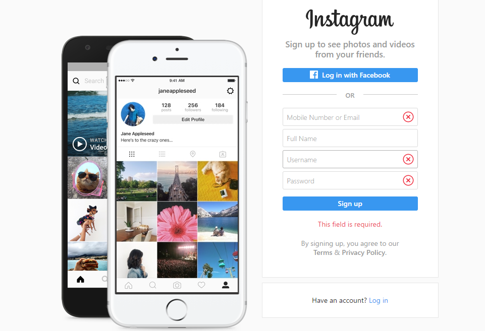 How To Upload a Photo to Instagram - Sign Up with Instagram