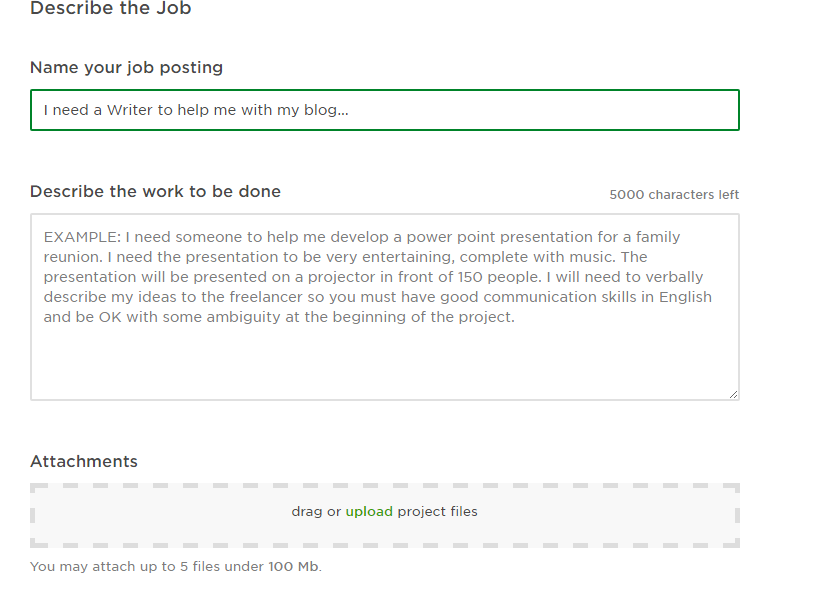 How to Post a Job on Upwork - Project Description