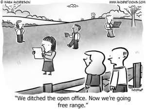 Open Office Business Cartoon