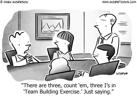 No I in Team Business Cartoon