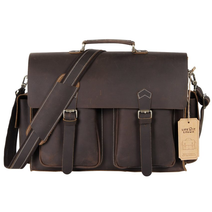 25 Travel Accessories for Men - Lifewit Men's Leather Briefcase