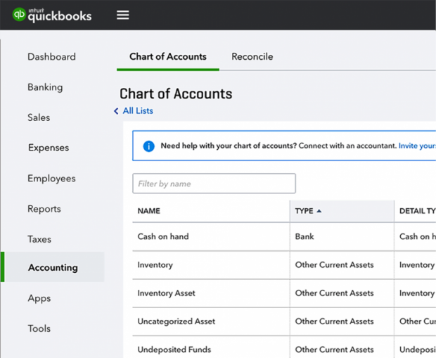 """QuickBooks Online Navigation Changes - """"Chart of Accounts"""" and """"Reconcile"""" are now found under the new """"Accounting"""" tab"""