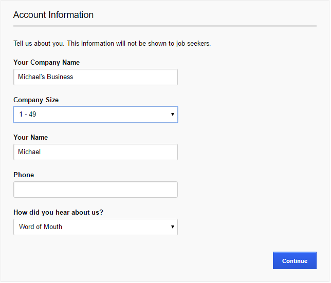 How to Post a Job on Indeed - Company Details