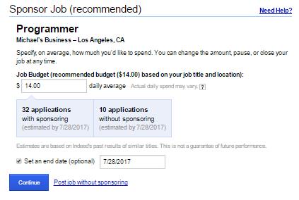 How to Post a Job on Indeed - Sponsor Job Option