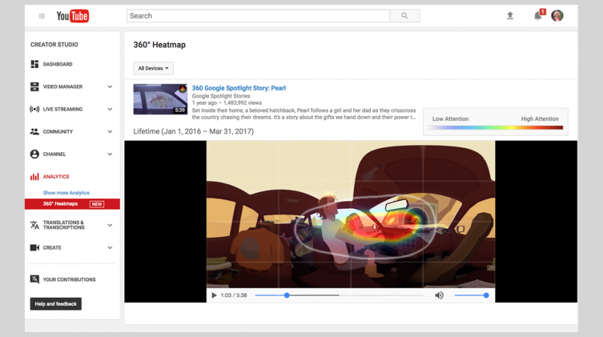 New: YouTube Heatmaps for Virtual Reality Videos and 360-Degree Videos
