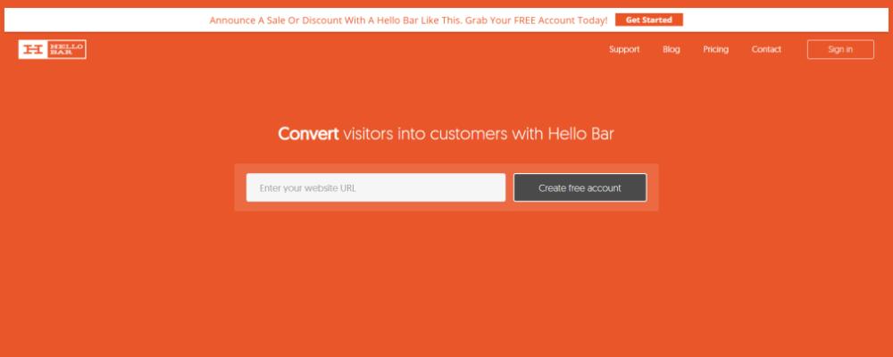 Hello Bar - free marketing tool