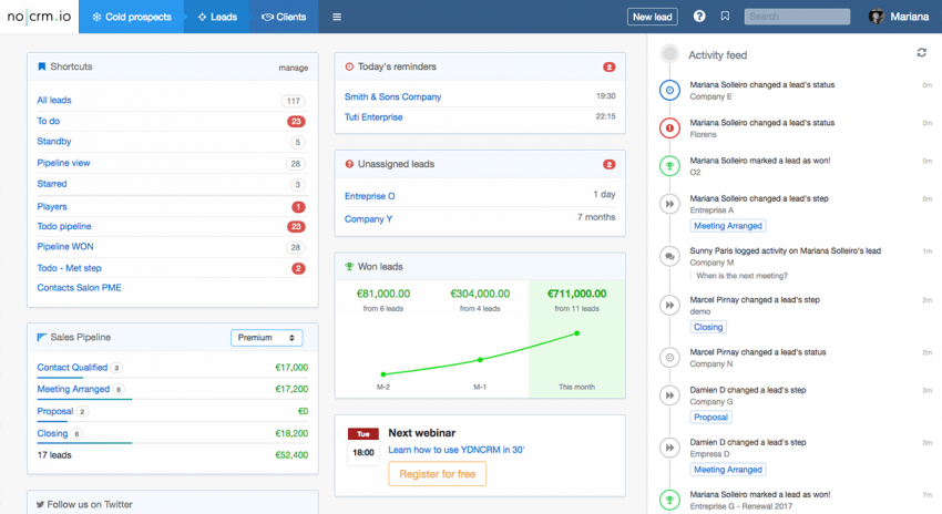 You Don't Need a CRM? NoCRM focuses on Leads over Customer Management