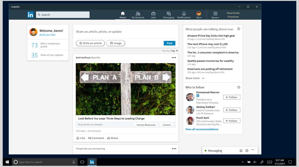 Microsoft Launches LinkedIn App for Windows 10