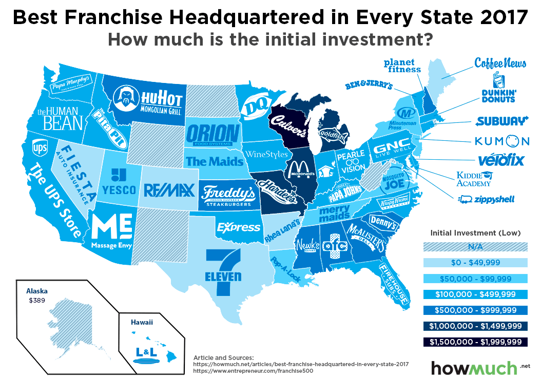 Looking for a Franchise Bargain? Check Out This Fun Map to Find the Best Low Cost Franchises