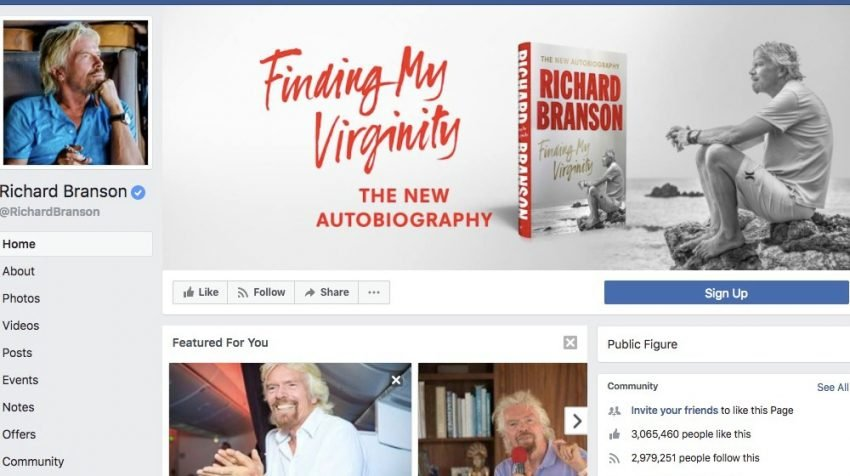 50 Facebook Page Examples to Keep Your Brand Page Fresh - Richard Branson