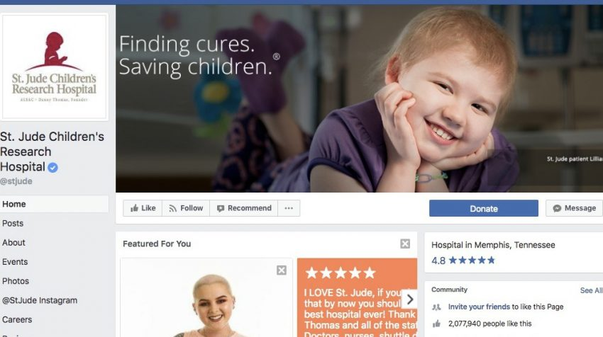 50 Facebook Page Examples to Keep Your Brand Page Fresh - St. Jude Children's Research Hospital