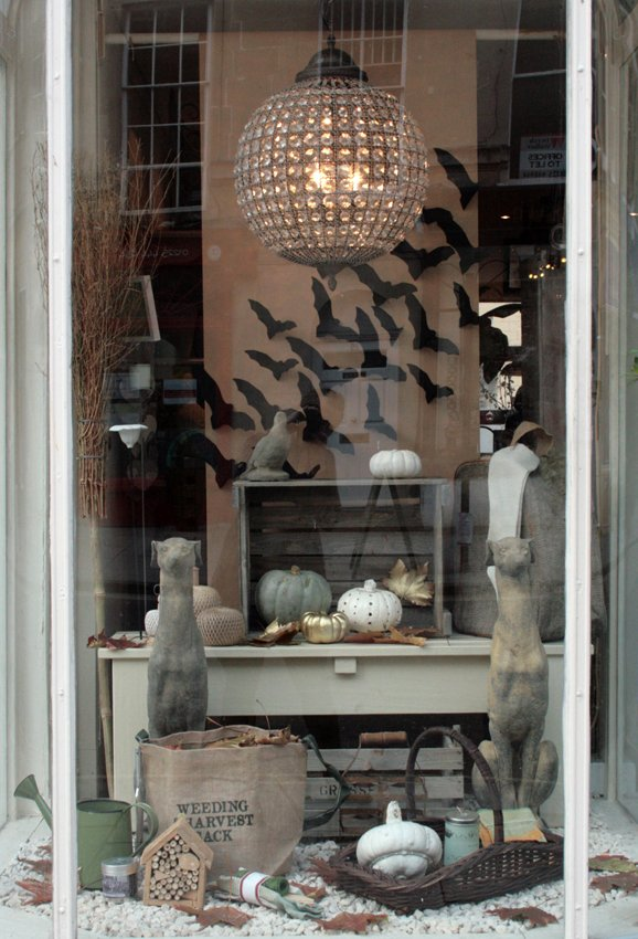 25 Examples of Halloween Retail Displays to Inspire You - Stylish Bat Window Display - Halloween Retail Displays - Halloween Retail Ideas - Halloween Display Ideas