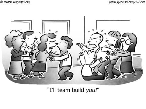 Team Building Business Cartoon