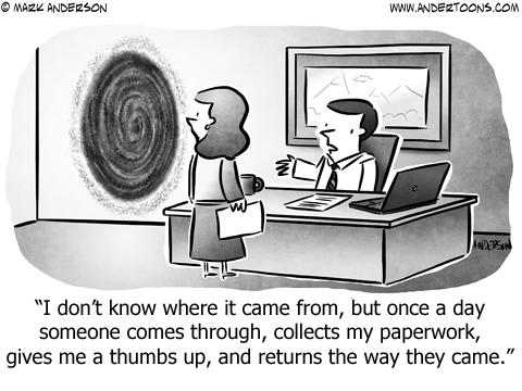 Wormhole Business Cartoon