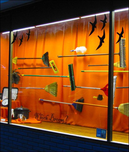 25 Examples of Halloween Retail Displays to Inspire You - Broom Hardware Store Display - Halloween Retail Displays - Halloween Retail Ideas - Halloween Display Ideas