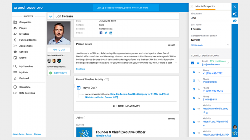 Nimble Prospector Helps Sales Teams Build Prospect Relationship Record