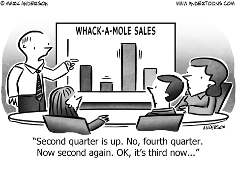 Whack-A-Mole Business Cartoon